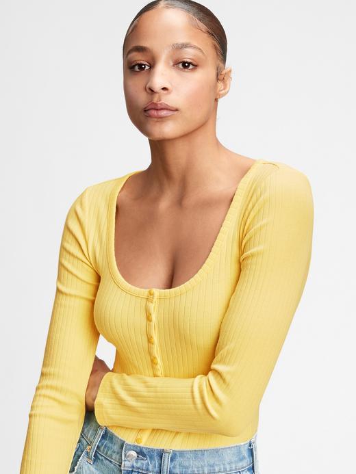 Kadın Sarı Henley Uzun Kollu Body