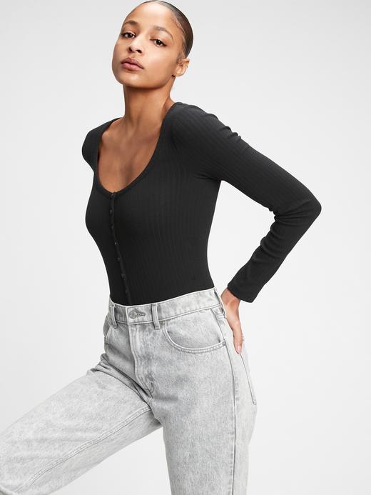 Kadın Siyah Henley Uzun Kollu Body