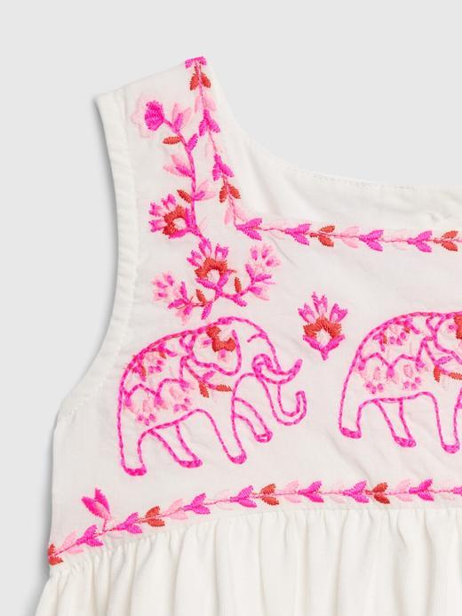 Kız Bebek Beyaz İşleme Detaylı Kolsuz Elbise