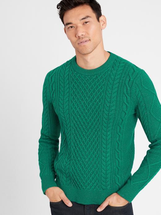 Erkek Yeşil Merino Yünlü Yuvarlak Yaka Kazak