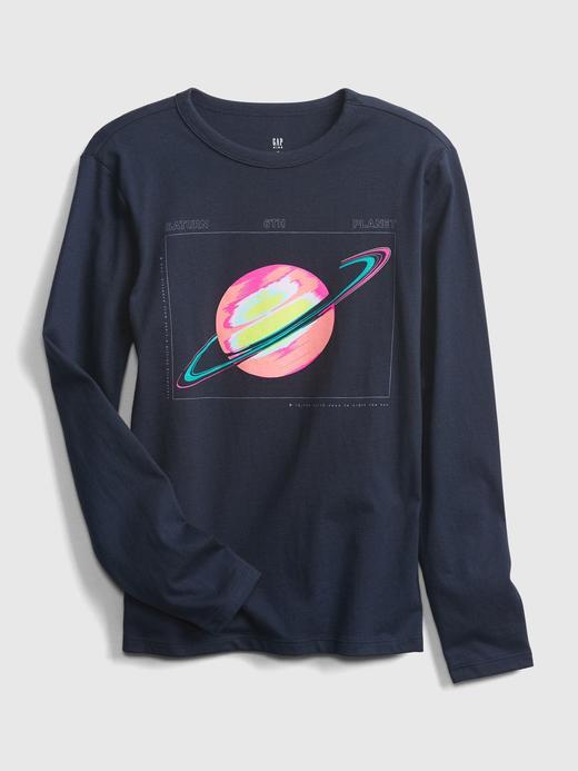 Erkek Çocuk Lacivert Uzun Kollu Grafik T-Shirt