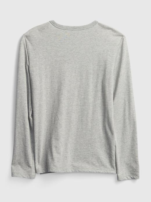 Erkek Çocuk Gri Uzun Kollu Grafik T-Shirt