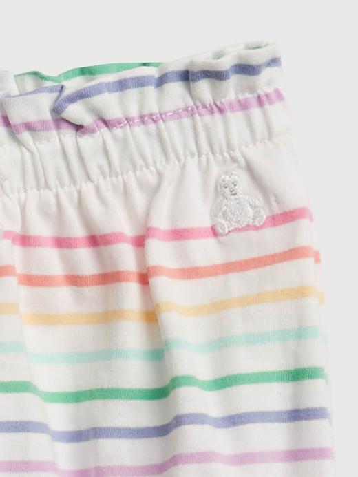 Kız Bebek Çok Renkli Organik Pamuklu Çizgili Pull-On Şort