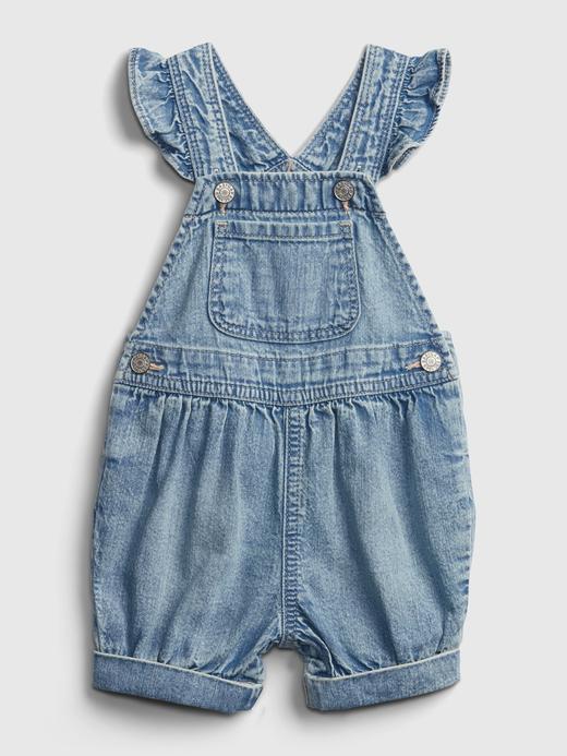 Kız Bebek Mavi Fırfır Detaylı Denim Tulum