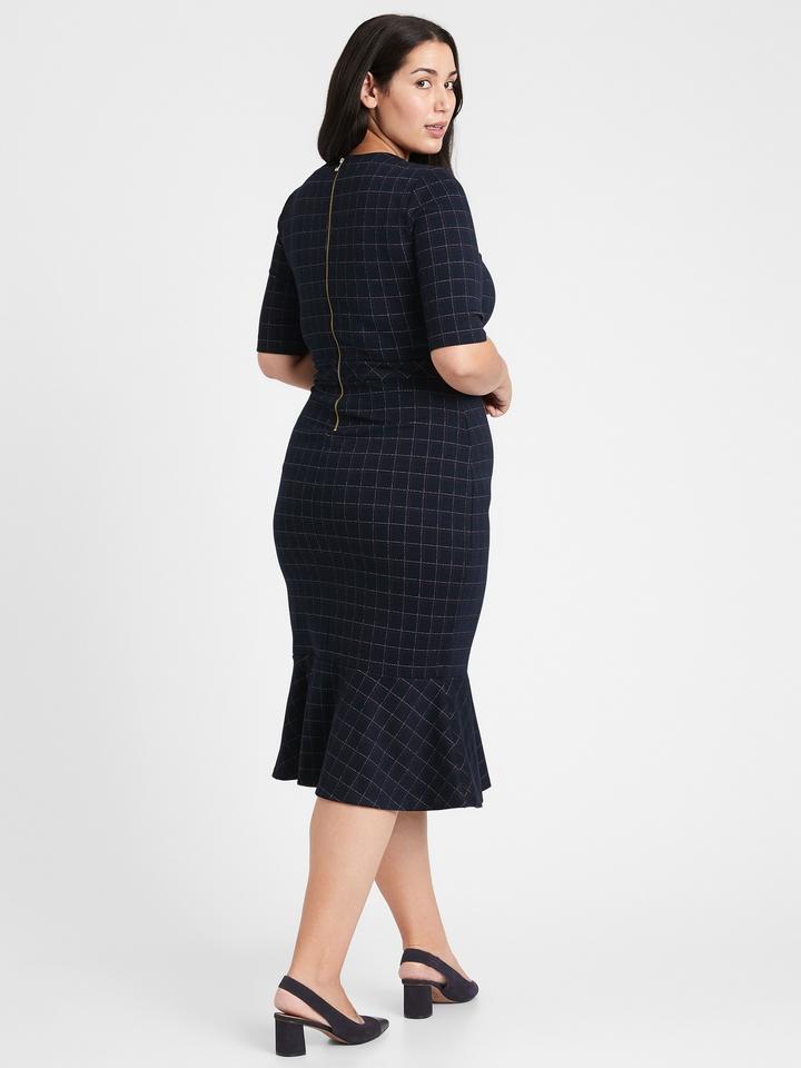Kadın Lacivert Ekose Midi Elbise
