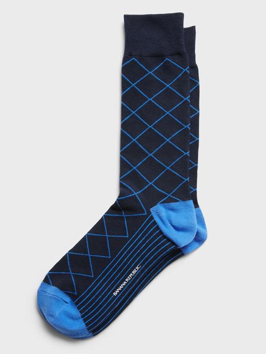 Erkek Lacivert Baklava Desenli Çorap