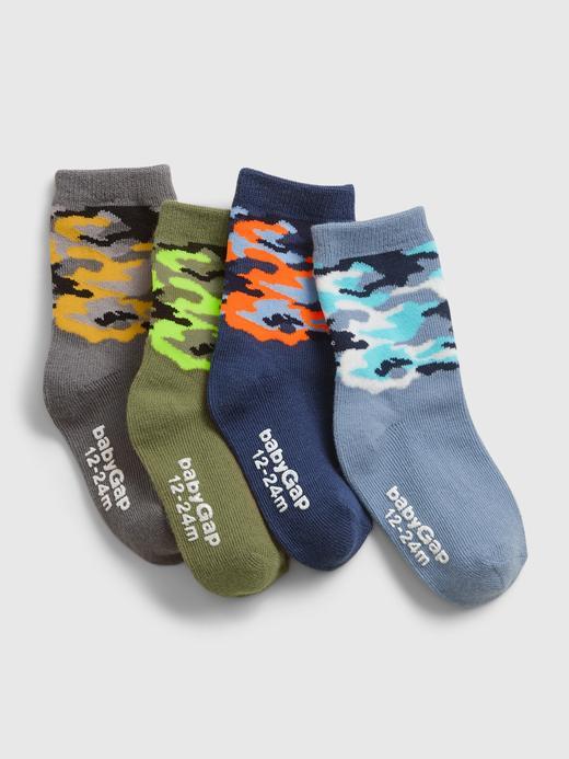 Bebek Çok Renkli 4'lü Kamuflaj Desenli Çorap Seti