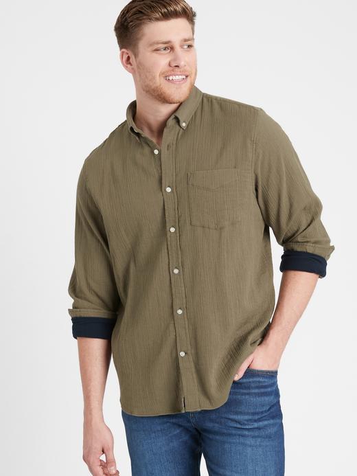 Erkek Gri Untucked Slim-Fit Gömlek