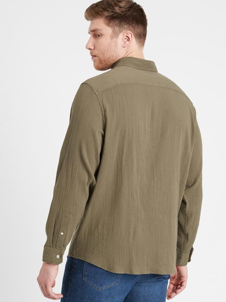 Erkek Yeşil Untucked Slim-Fit Gömlek