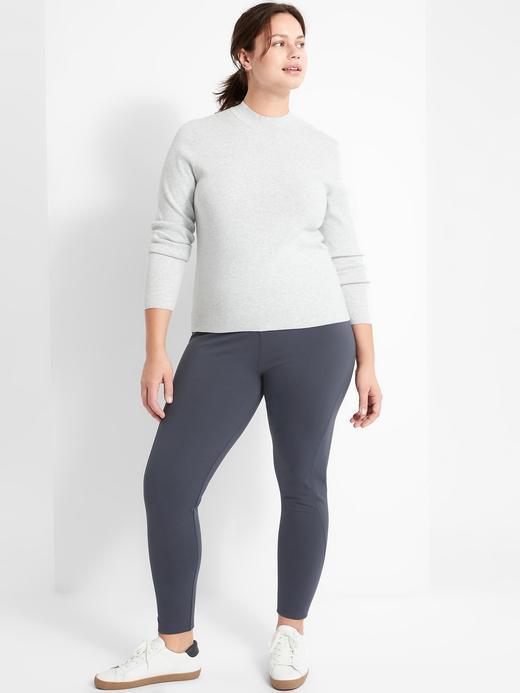 Kadın Gri High-Rise Ponte Legging Pantolon