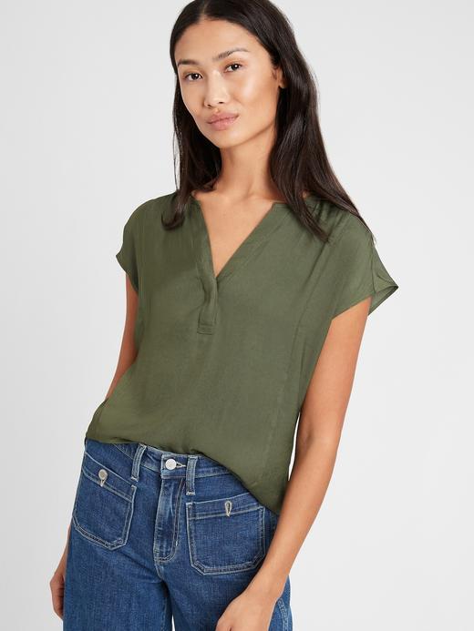 Kadın Yeşil V Yaka Bluz