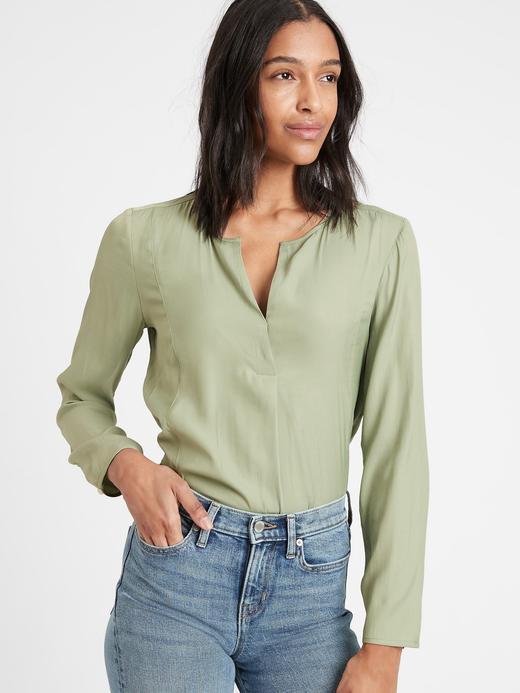 Kadın Yeşil V Yaka Popover Bluz