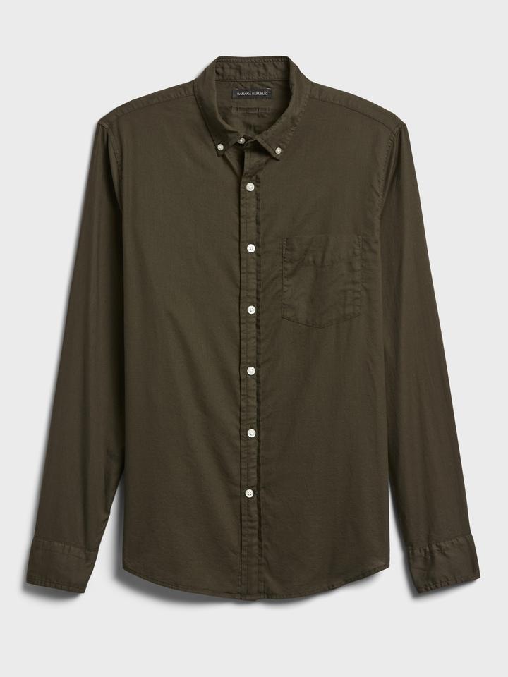 Erkek Yeşil Organik Pamuklu Untucked Slim-Fit Gömlek