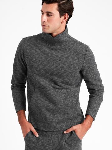 Erkek Siyah French Terry Dik Yakalı Sweatshirt