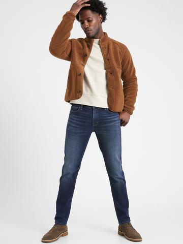 Erkek Lacivert Slim Luxe Traveler Jean Pantolon