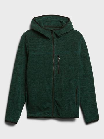 Erkek Yeşil Fermuarlı Polar Sweatshirt