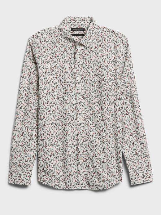 Erkek Beyaz Untucked Slim-Fit Luxe Poplin Gömlek