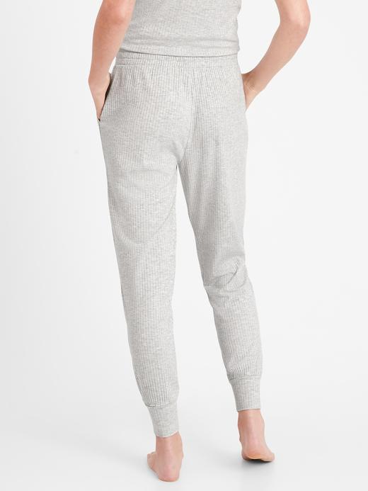Kadın Gri Fitilli Jogger Pijama Altı