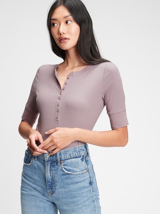 Kadın Mor Fitilli Henley Kısa Kollu T-Shirt