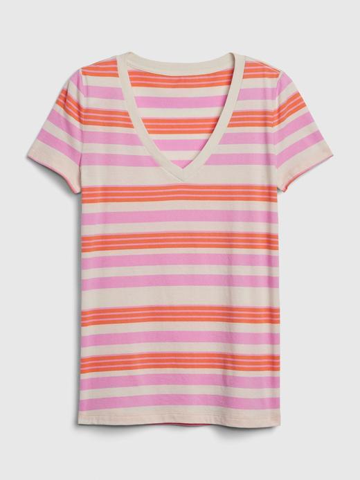 Kadın Pembe Vintage Çizgili T-Shirt