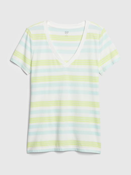 Kadın Mavi Vintage Çizgili T-Shirt