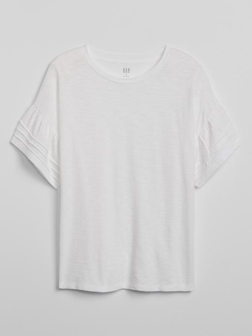 Kadın Beyaz Fırfırlı Kısa Kollu  T-Shirt