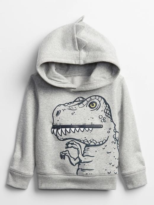 Erkek Bebek Gri Kapüşonlu Grafik Sweatshirt