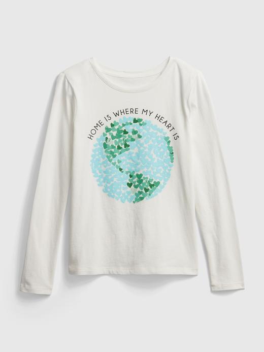 Kız Çocuk Beyaz Grafik Uzun Kollu T-Shirt