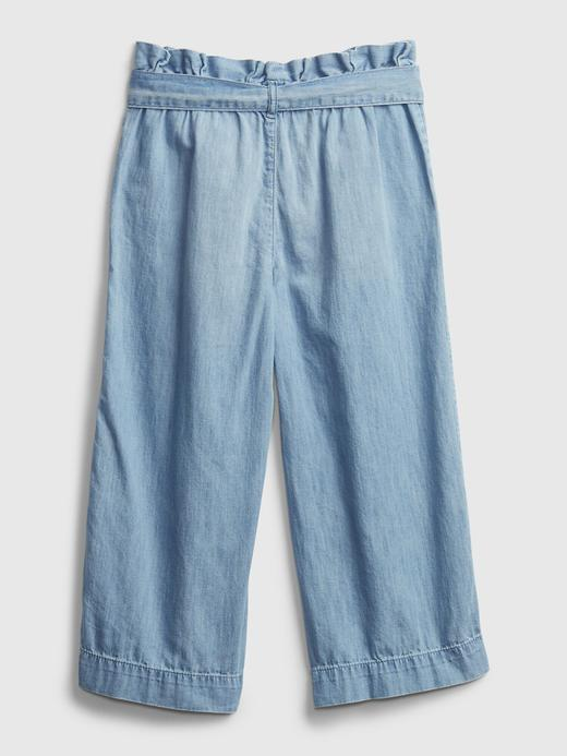 Kız Çocuk Mavi Wide-Leg Crop Jean Pantolon