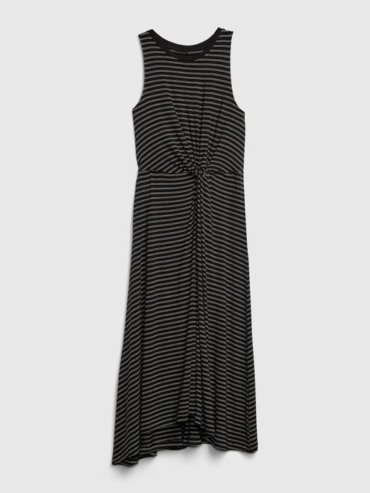 Kadın Siyah Kolsuz Çizgili Elbise