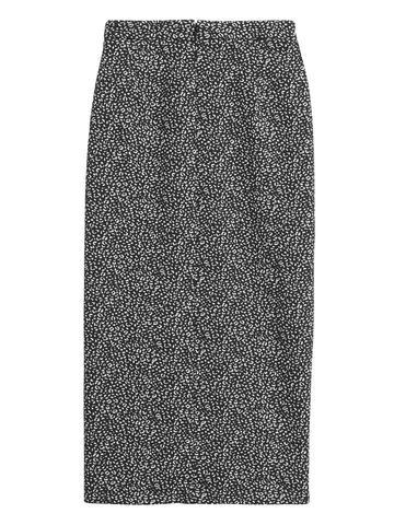 Kadın Siyah Leopar Desenli Kalem Etek