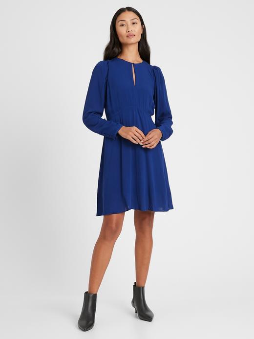 Kadın Lacivert Balon Kollu Mini Elbise