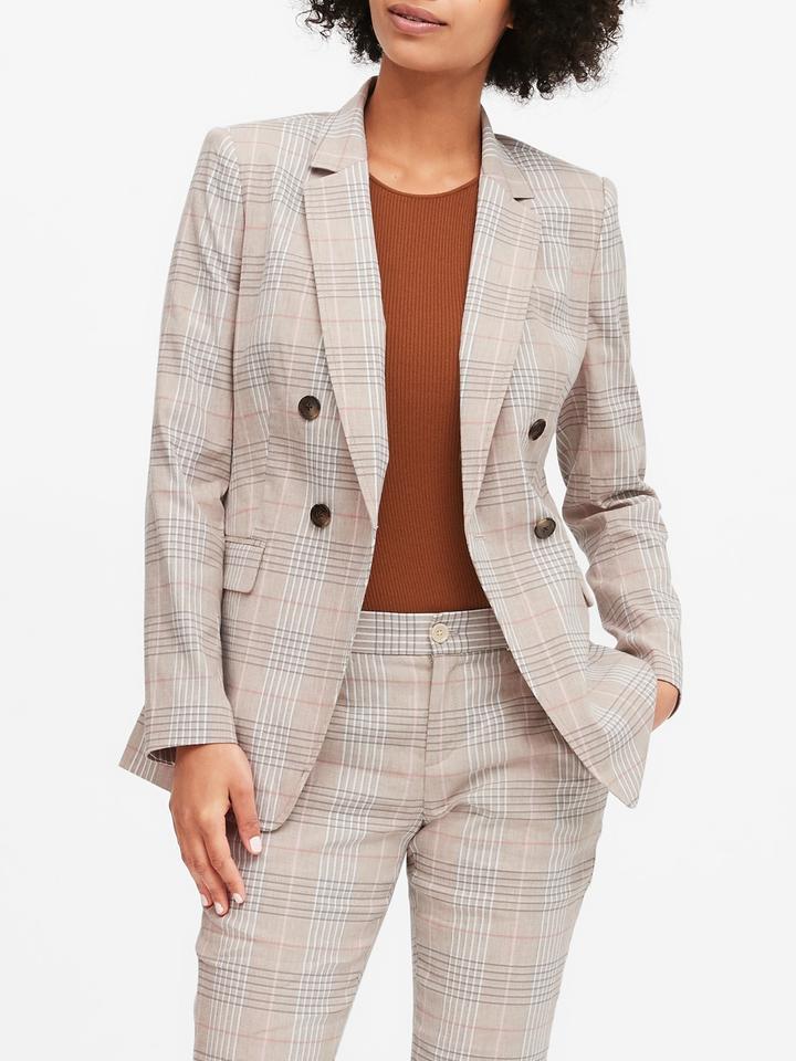 Kadın Bej Keten Pamuk Karışımlı Blazer Ceket