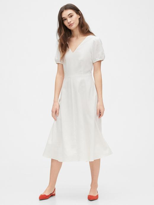 Kadın Beyaz V Yaka Midi Elbise
