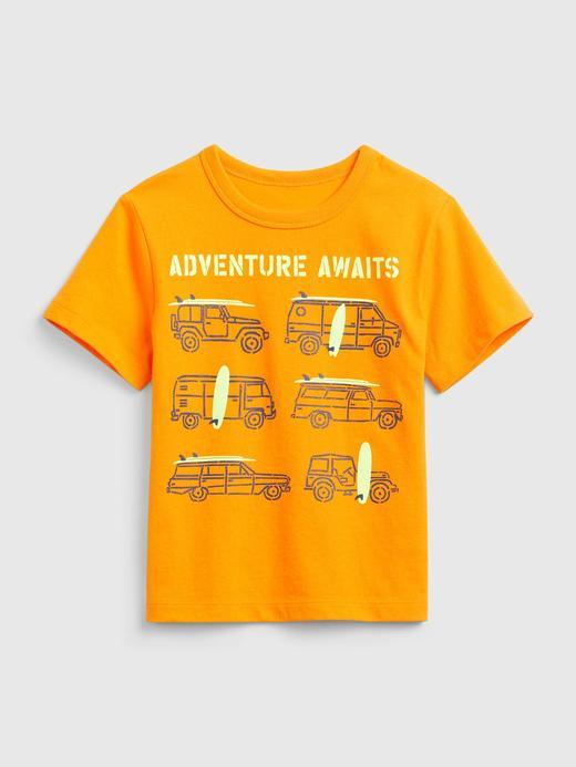 Erkek Bebek Turuncu Kısa Kollu Grafik T-Shirt