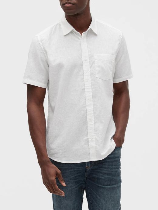 Erkek Beyaz Keten Pamuk Karışımlı Gömlek