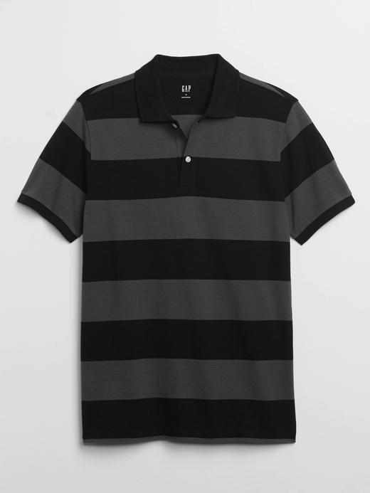Erkek Siyah Polo Yaka Çizgili T-Shirt