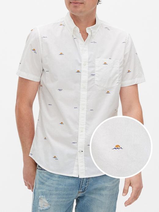 Erkek Beyaz Slim Fit Kısa Kollu Gömlek
