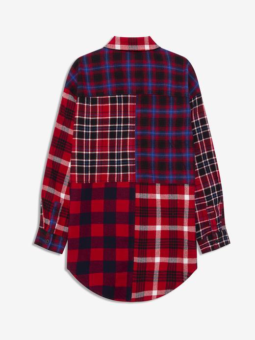 Kız Çocuk Kırmızı Ekose Patchwork Gömlek