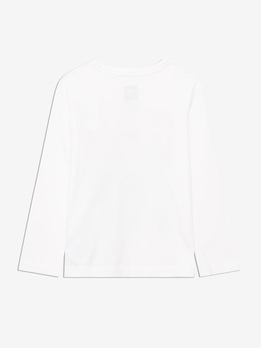 Erkek Bebek Beyaz Uzun Kollu Grafik T-Shirt
