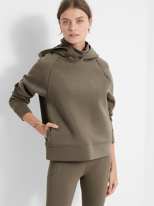 Kadın Yeşil Scuba Kumaş Kapüşonlu Sweatshirt