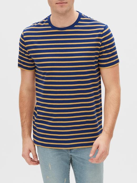 Erkek Lacivert Çizgili Kısa Kollu T-Shirt