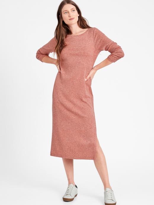 Kadın Kırmızı Uzun Kollu Midi Elbise