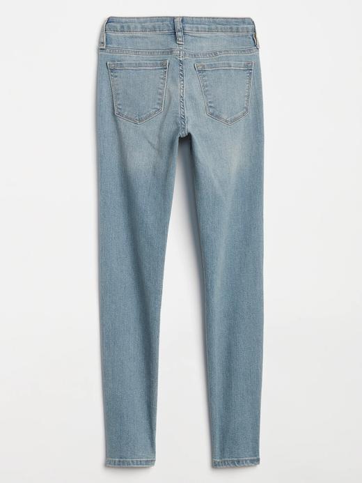 Kız Çocuk açık renk yıkama Light wash super skinny jean pantolon
