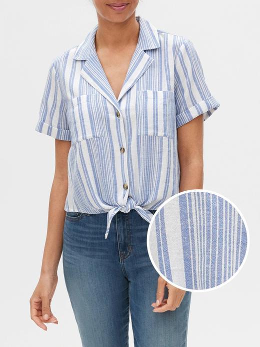 Kadın Mavi Önden Bağlamalı Çizgili Gömlek