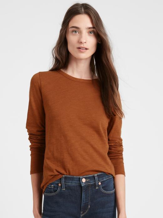 Kadın Kahverengi Pamuk-Modal Karışımlı Uzun Kollu T-Shirt