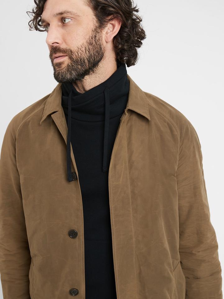 Erkek Kahverengi Su Geçirmez Oversize Ceket