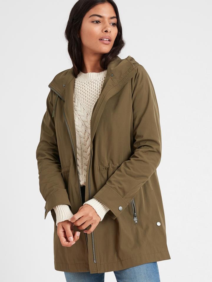 Kadın Yeşil Çıkartılabilir Kapüşonlu Ceket