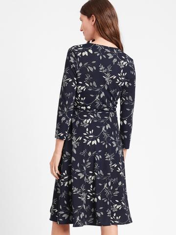 Kadın Lacivert Desenli Anvelop Elbise