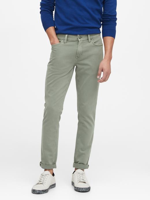 Erkek Yeşil Skinny Traveler Pantolon